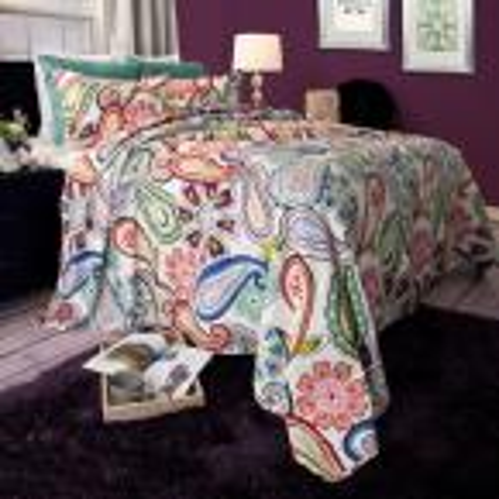Lizzie Green Polyester Full/Queen Quilt
