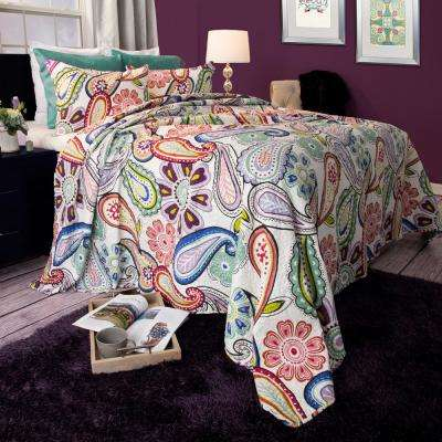 Lizzie Green Polyester Full/Queen Quilt