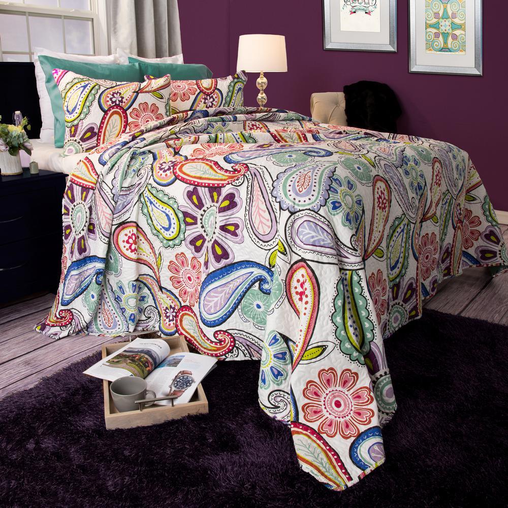 Lavish Home Lizzie Green Polyester King Quilt 66-10042-K