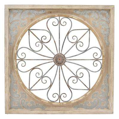 Metal/Wood Wall Art Finished in Brown - 35.75 X 1.75 X 35.75