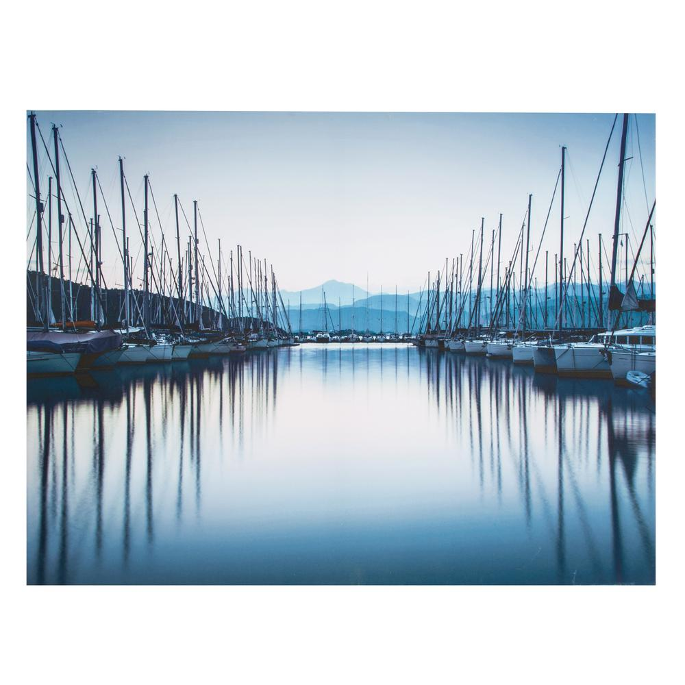 """24 in. x 31 in. """"Harbor Reflections"""" Printed Canvas Wall Art"""