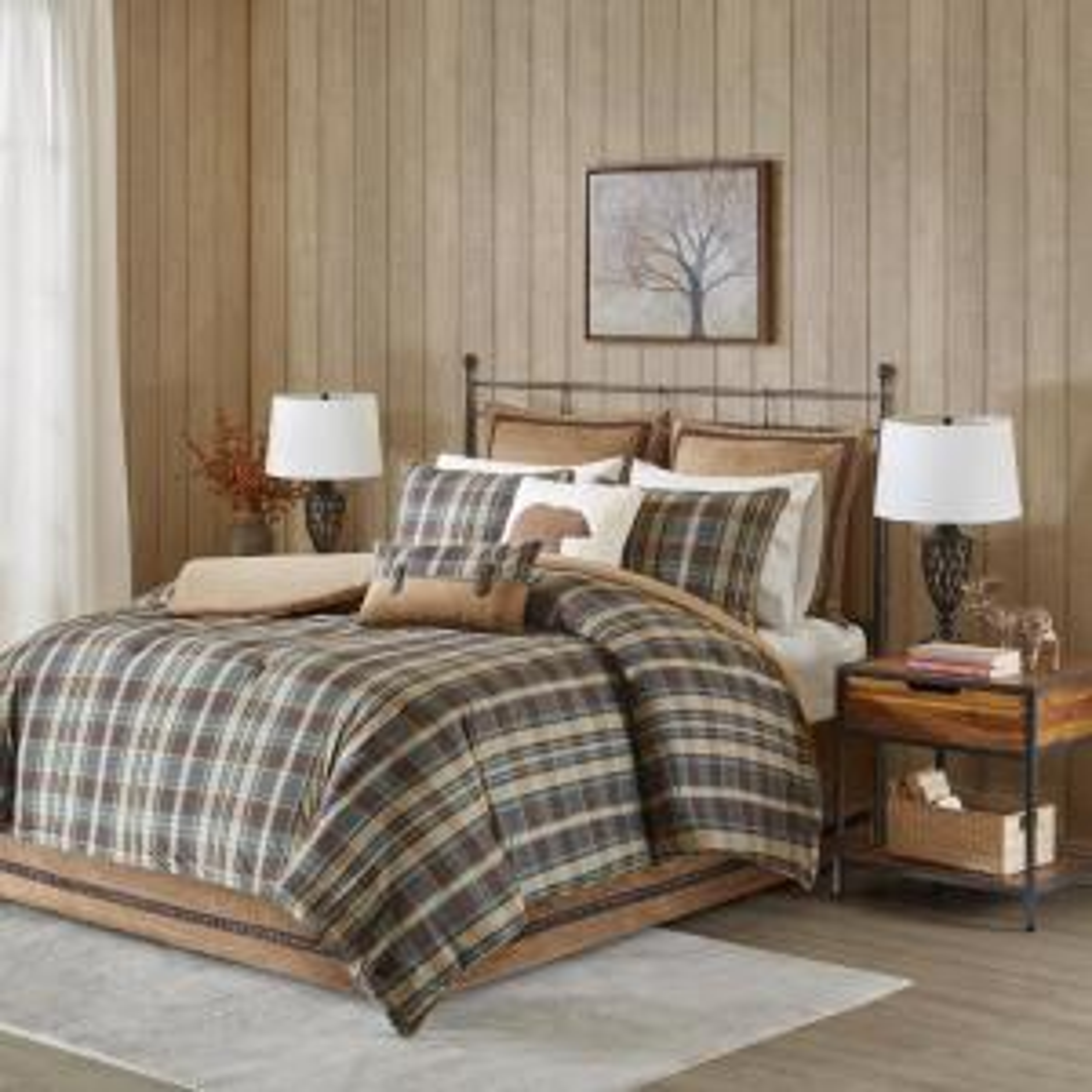 Hadley Plaid 4-Piece Blue/Taupe King Comforter set