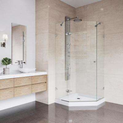 Verona 36.125 in. x 76.75 in. Frameless Neo-Angle Shower Door in Brushed Nickel with Clear Glass and Low Profile Base