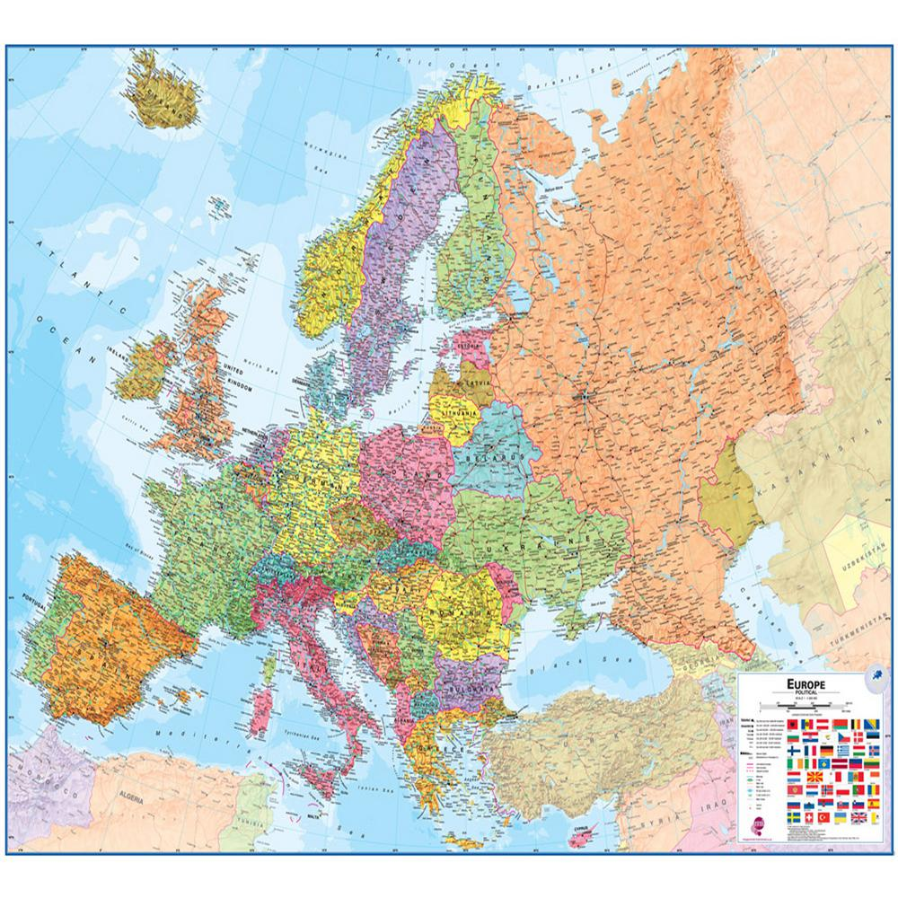 Waypoint Geographic Europe 1 4 3 Wall Map Wphd Mileurope The Home