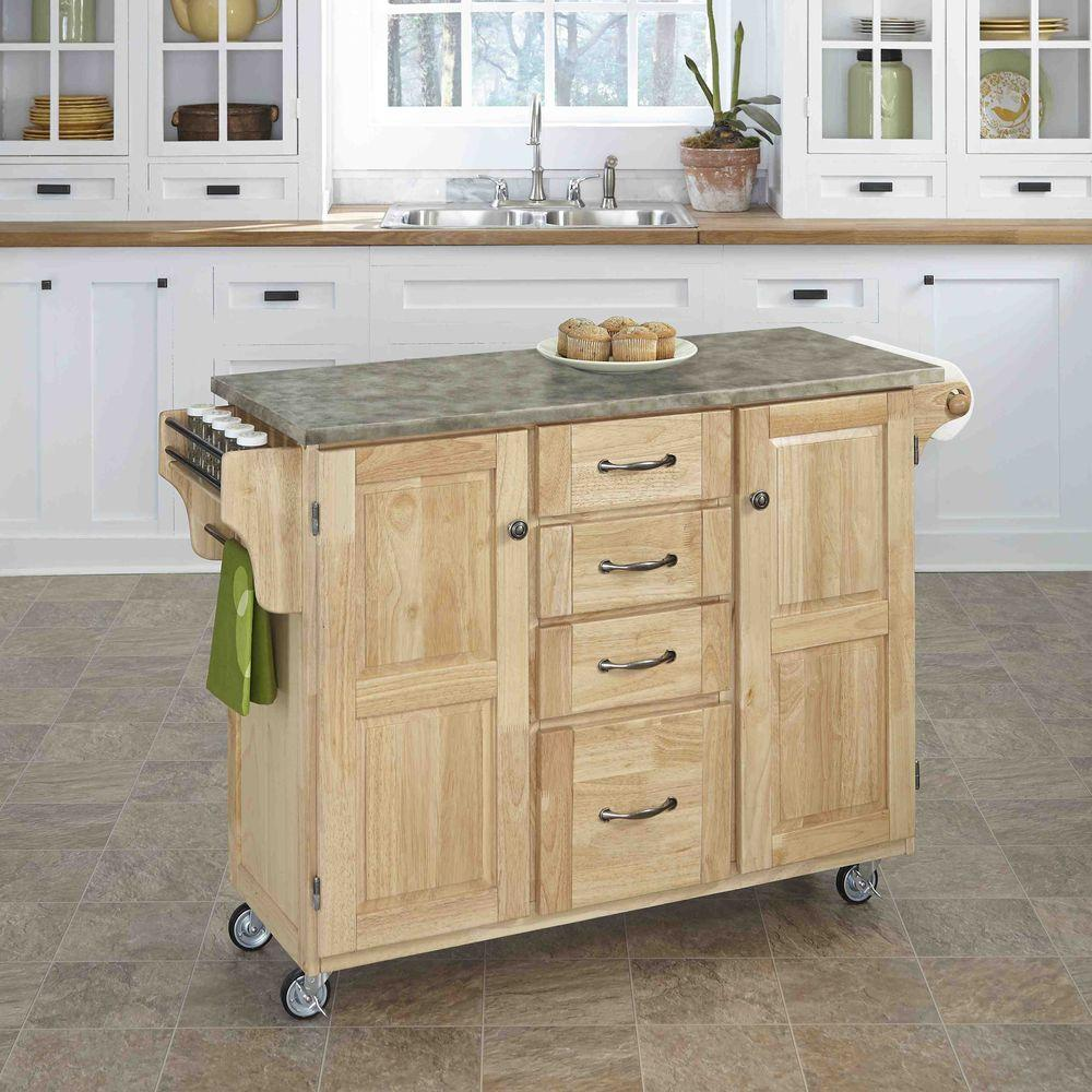 Home Styles Natural Kitchen Cart With Stainless Top-5217-95 - The ...