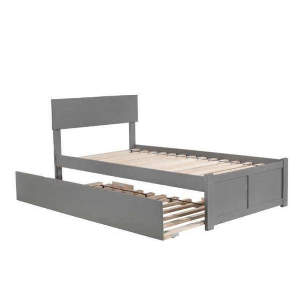 Atlantic Furniture Orlando Twin Platform Bed with Flat Panel Foot Board and Twin Size Urban Trundle Bed in Grey