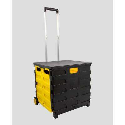 Foldable 60 Qt. Rolling Crate in Yellow/Black