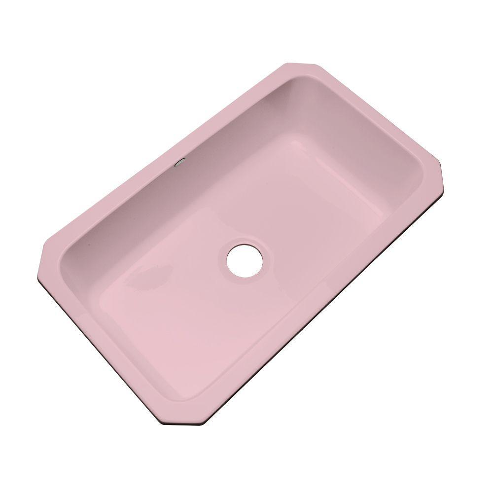 Thermocast Manhattan Undermount Acrylic 33 in. Single Bowl Kitchen Sink in Dusty Rose