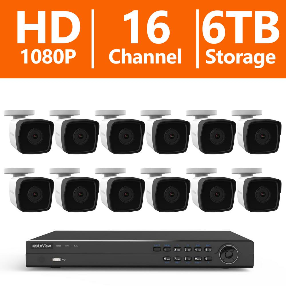 16-Channel 1080P IP Surveillance 6TB NVR Security System ...