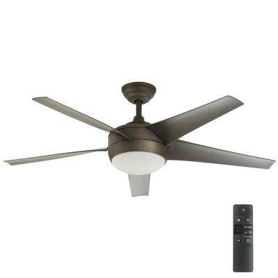 Windward IV 52 in. GU24 CFL Indoor Oil Rubbed Bronze Ceiling Fan with Light Kit and Remote Control