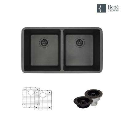 Undermount Composite Granite 32-1/2 in. Double Bowl Kitchen Sink in Carbon