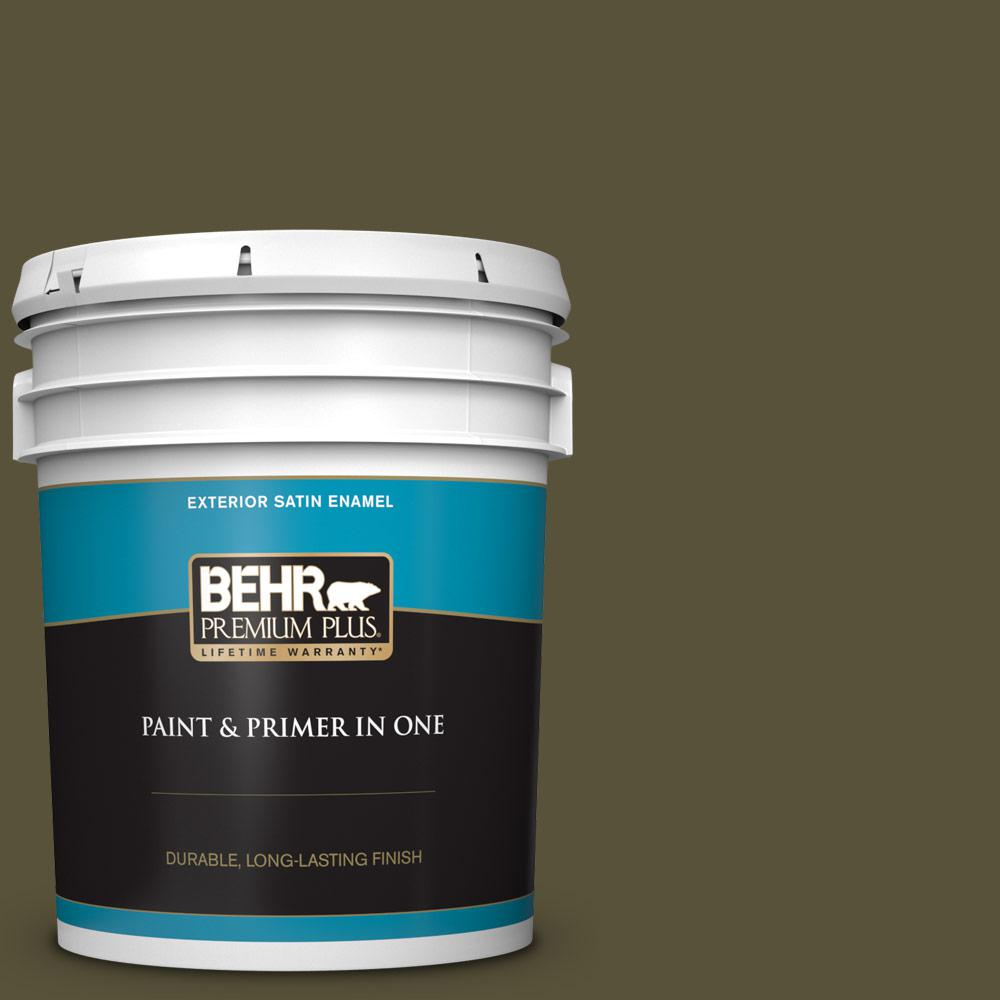 Behr Premium Plus 5 Gal 750d 7 Hampton Satin Enamel Exterior Paint And Primer In One 934005 The Home Depot