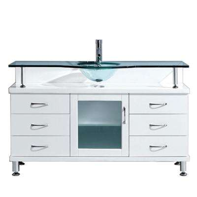 Vincente 56 in. W Bath Vanity in White with Glass Vanity Top in Aqua with Round Basin