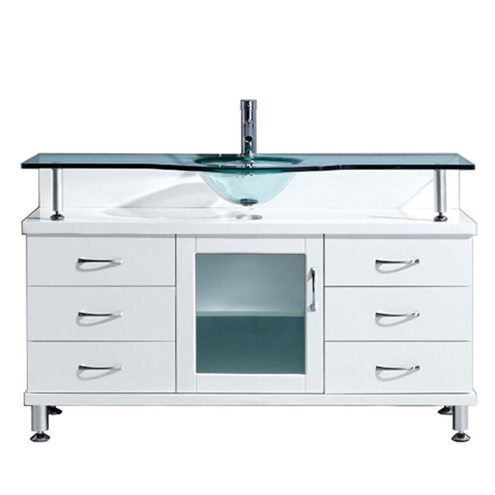 Virtu USA Vincente 56 in. W Bath Vanity in White with Glass Vanity ...