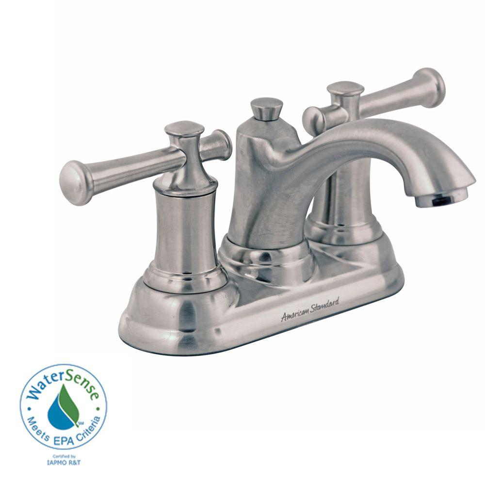 American Standard Portsmouth 4 in. Centerset 2-Handle Bathroom Faucet with Lever Handles and Speed Connect Drain in Brushed Nickel