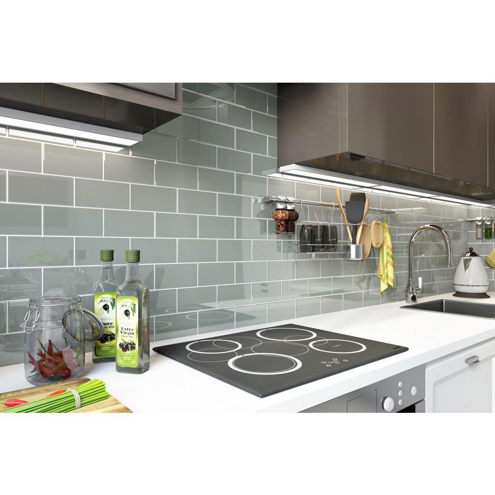 - Giorbello Glass Subway Backsplash Tile 2 Sq Ft Light Gray 3 X 6