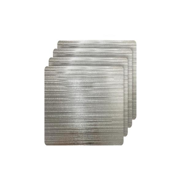 Dainty Home Emery Silver Metallic Reversible Square Placemats (Set of 4)