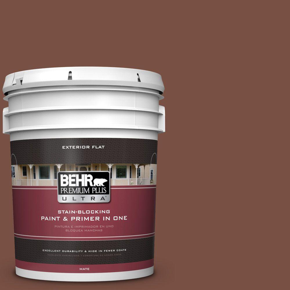 BEHR Premium Plus Ultra Home Decorators Collection 5-gal. #HDC-AC-03 Ancho Pepper Flat Exterior Paint