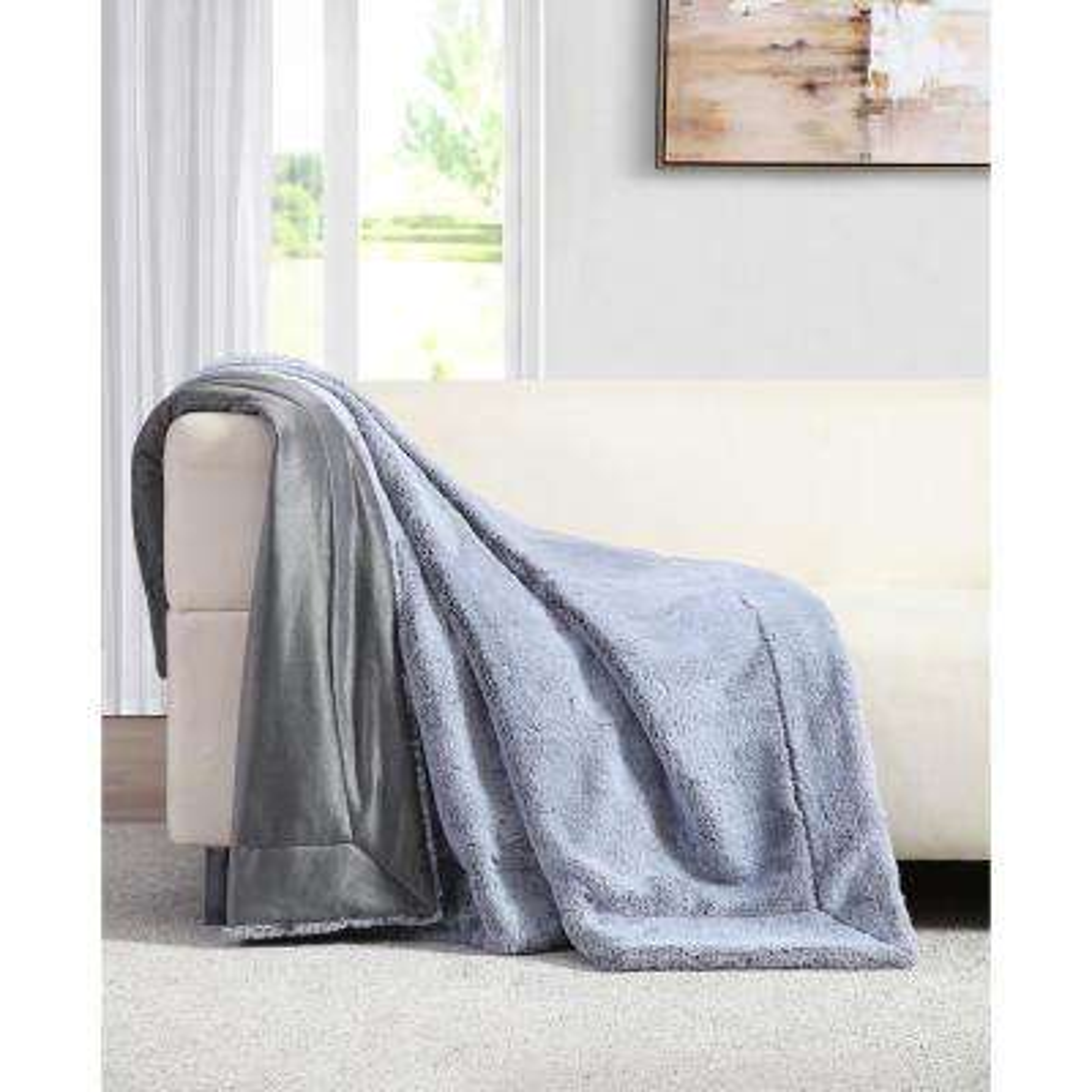 Millburn Faux Grey Fur Throw Blanket