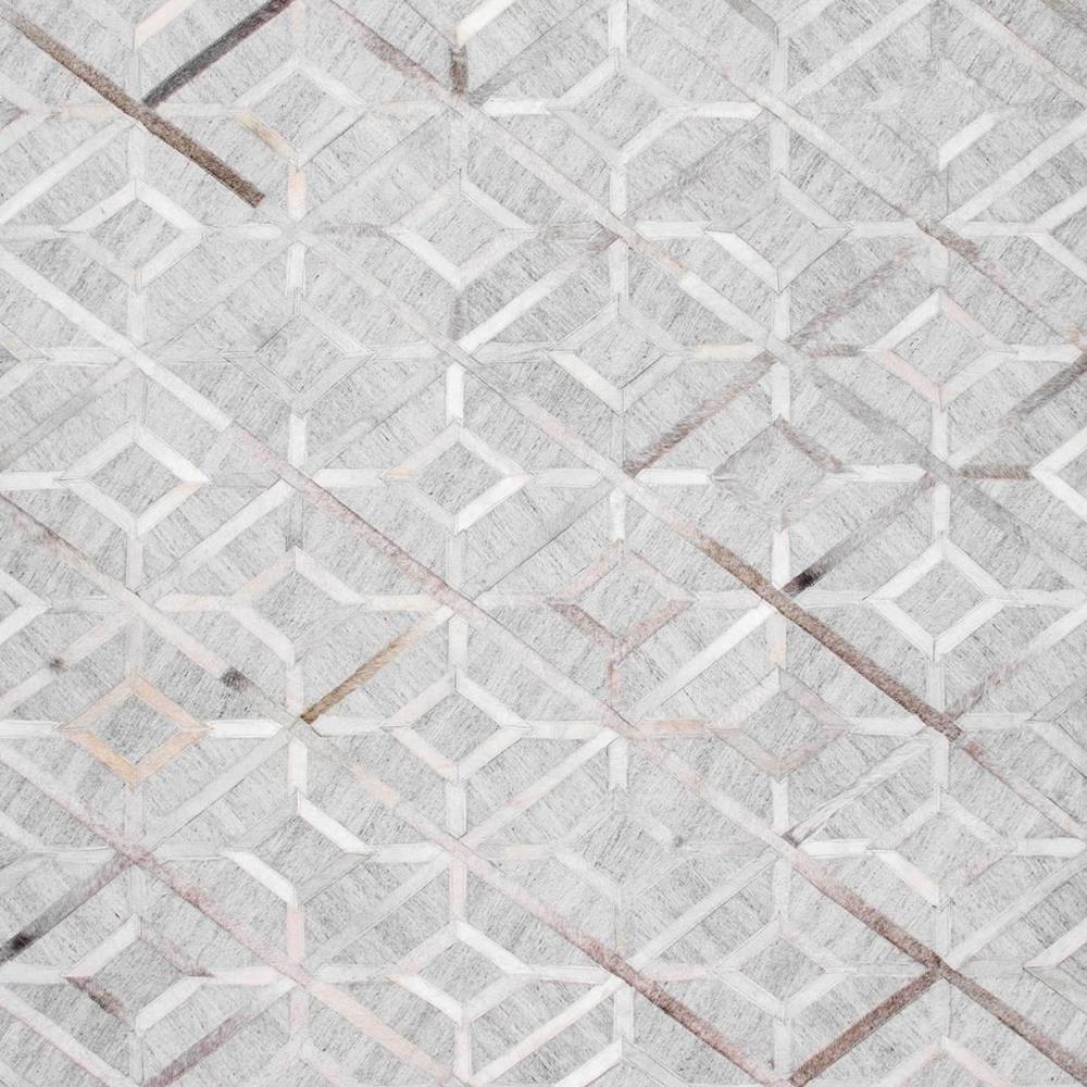 Chanda Cowhide Diamond Trellis Gray 6 ft. Square Rug