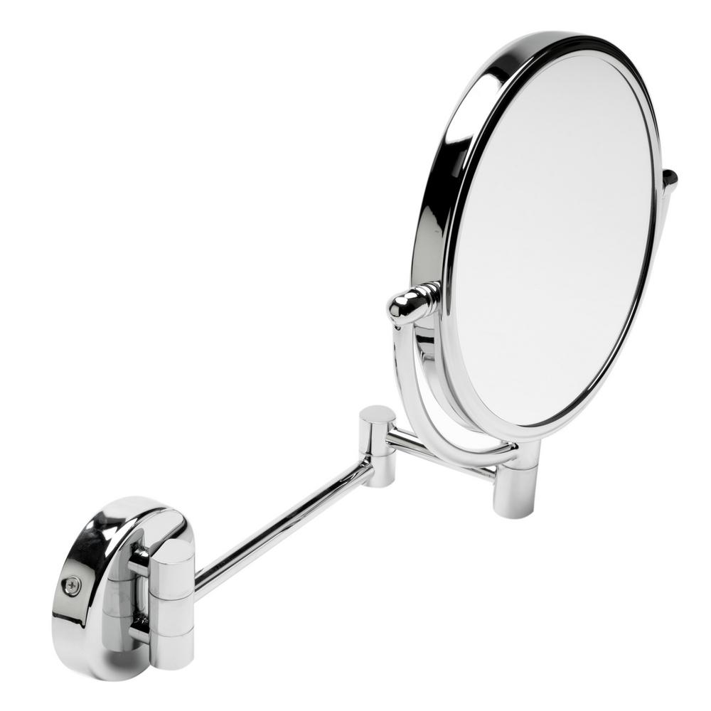 ALFI BRAND 8 in. x 8 in. Round Framed Wall Mounted 5X and 0X Mirror in Polished Chrome