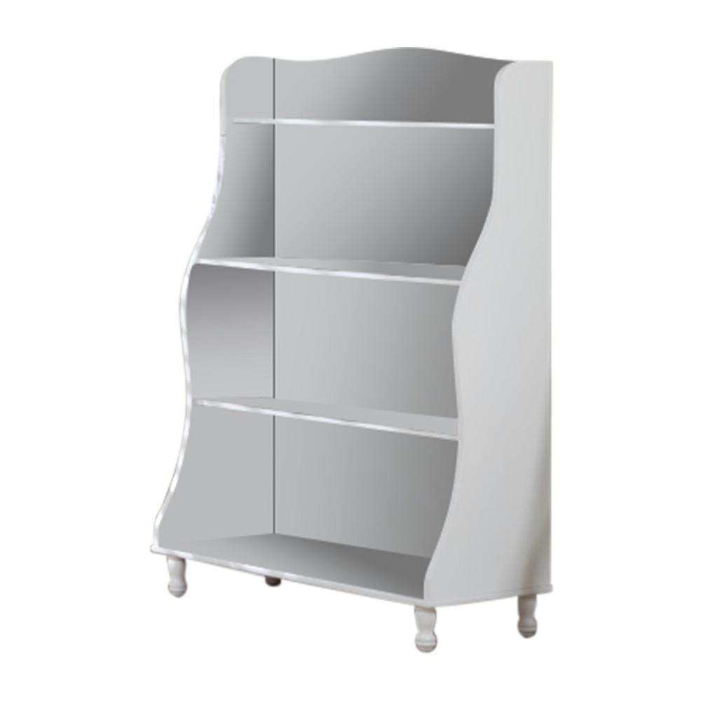 White Wood Children's 4-Tier Bookcase Display Chest