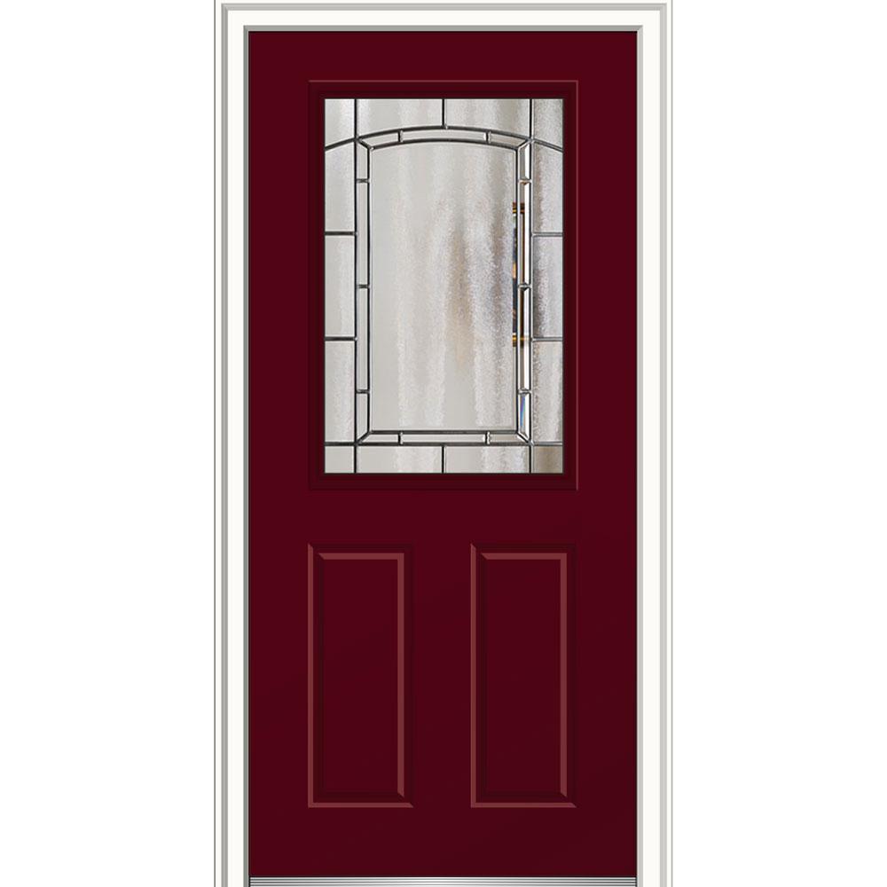 Mmi Door 36 In X 80 In Solstice Glass Burgundy Right Hand 1 2 Lite 2 Panel Painted Steel