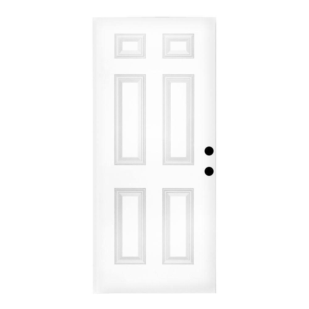 Steves & Sons 30 in. x 79 in. Premium White 6-Panel Primed Steel Front Door Slab