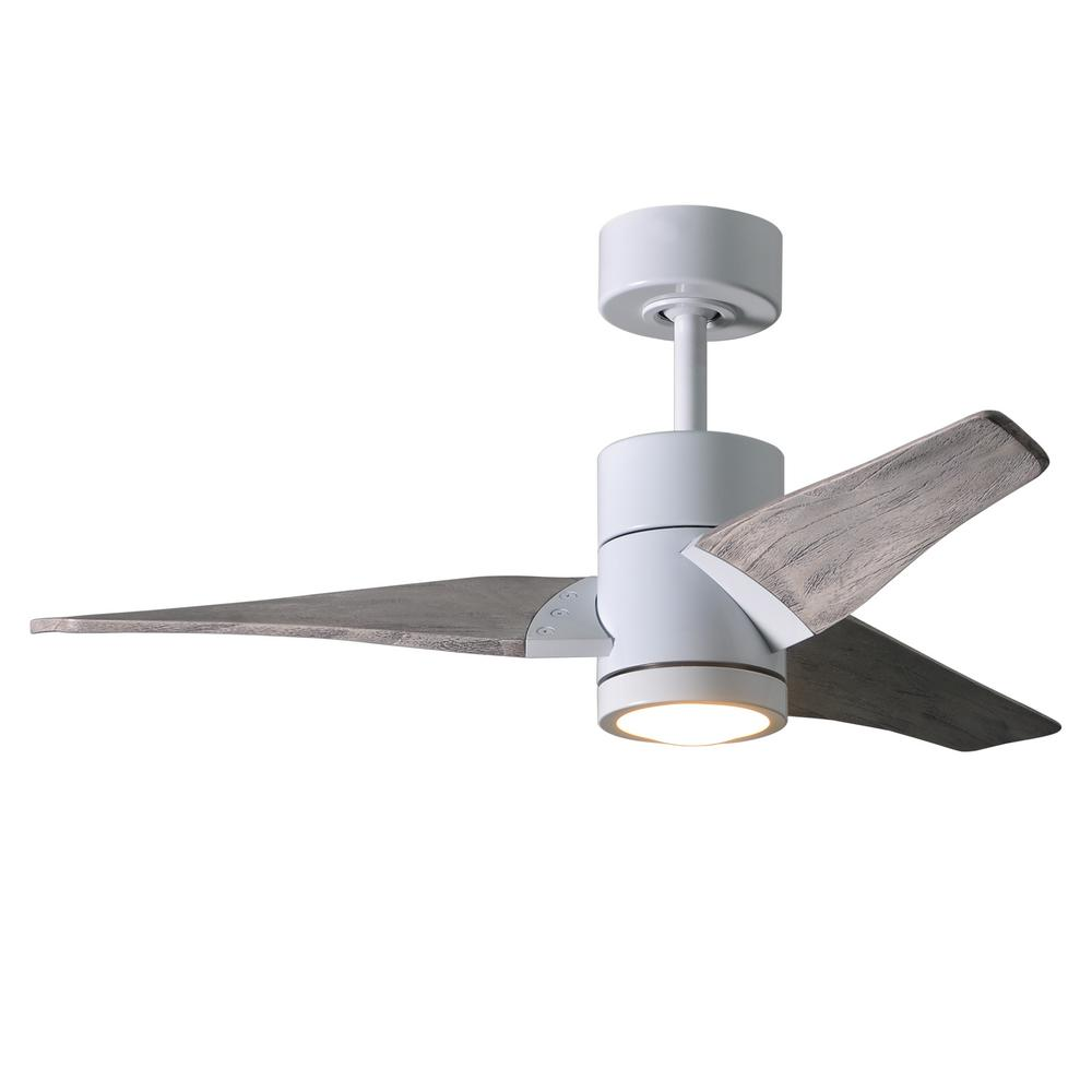 Super Janet 42 In Led Indoor Outdoor Damp Gloss White Ceiling Fan With Light Remote Control Wall
