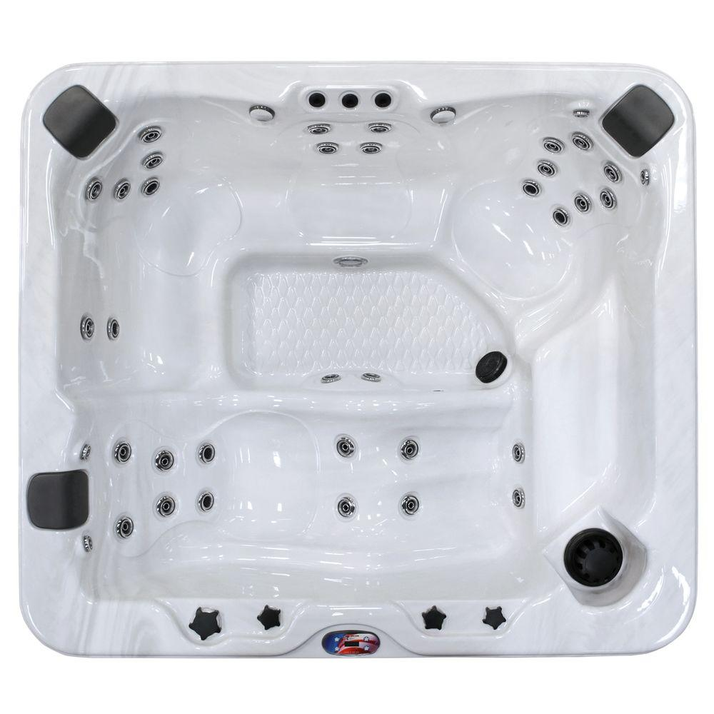 5-Person 37-Jet Lounger Spa Hot Tub with Bluetooth Stereo System, Subwoofer