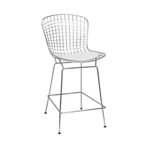 Pleasant Mid Century Modern Chrome Wire Counter Stool With 24 In Seat Height White Caraccident5 Cool Chair Designs And Ideas Caraccident5Info