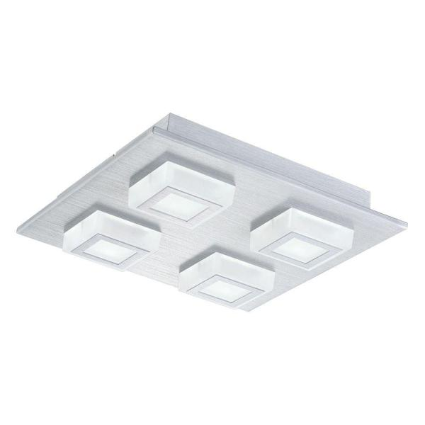 Masiano 10.625 in. W 4-Light Brushed Aluminum Integrated LED Semi-Flush Mount Light with White Shades