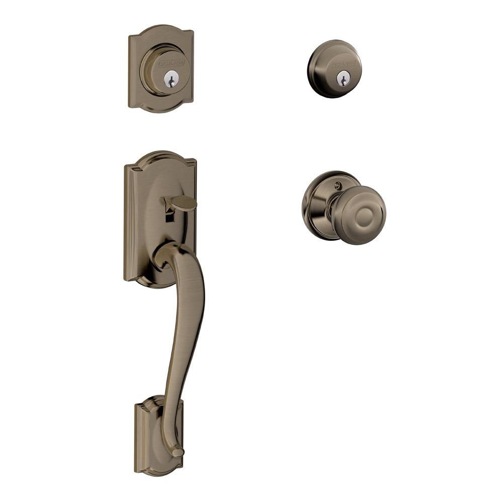 Schlage Parthenon Single Cylinder Antique Brass Handleset