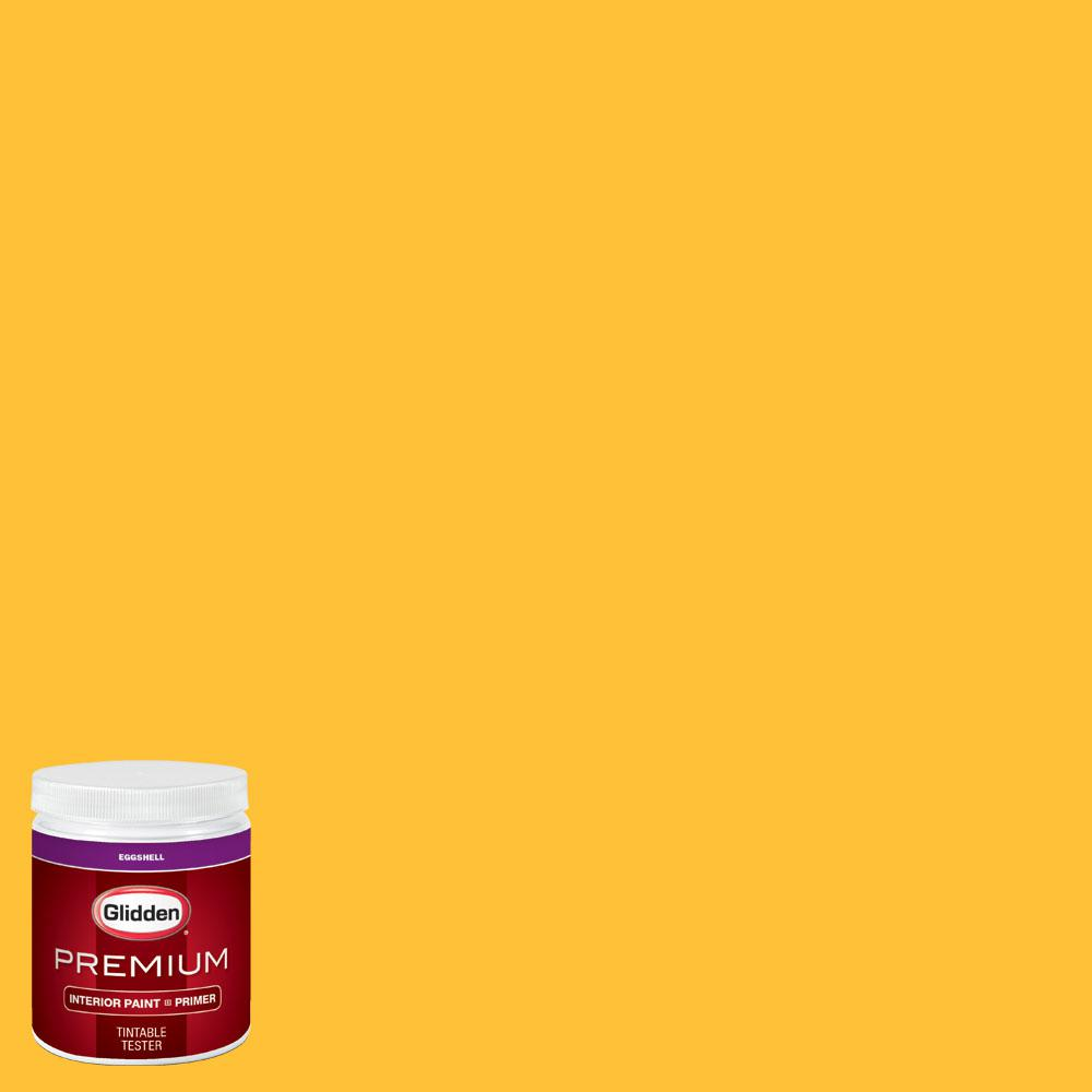 Glidden Premium 8 oz. #wnba-131E Connecticut Sun Yellow Eggshell Interior Paint with Primer