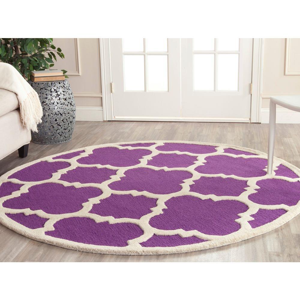 Safavieh Cambridge Purple Ivory 6 Ft X 6 Ft Round Area Rug Cam140k