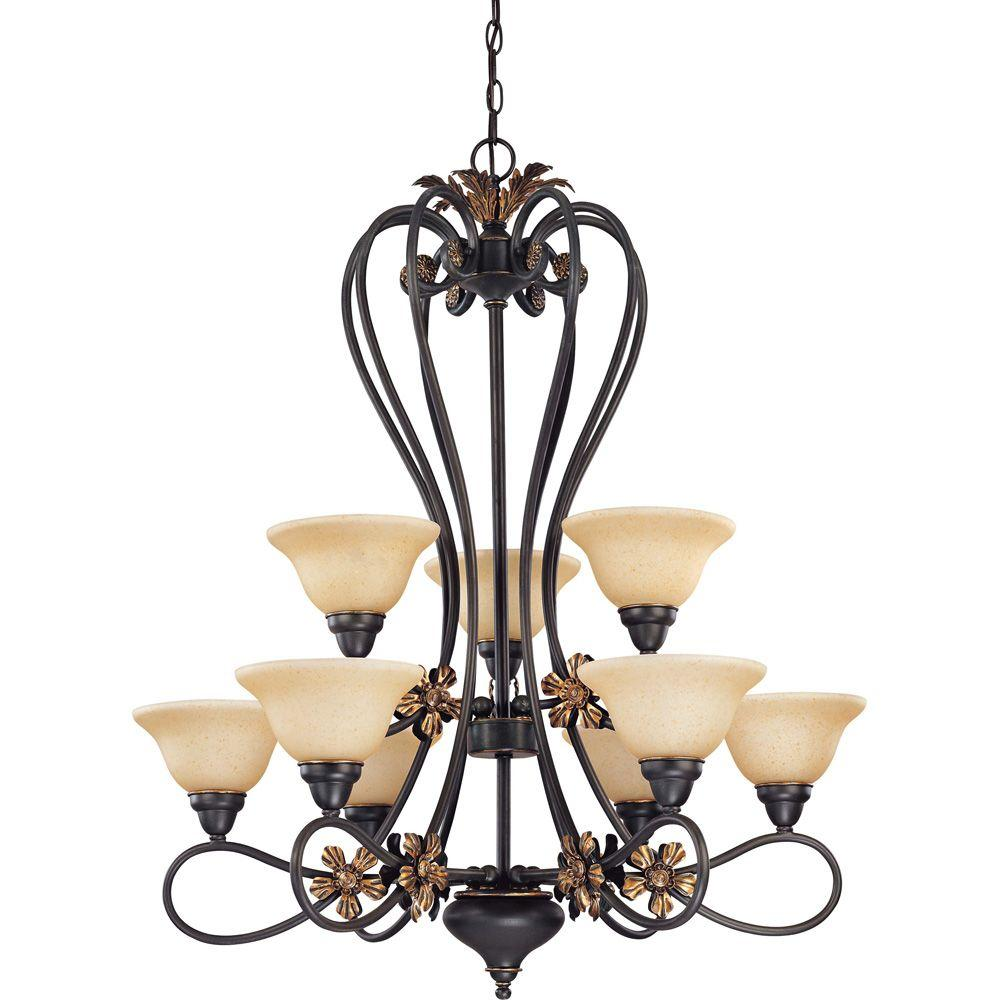 Glomar Francesca Rustic Bronze 9-Light 2 Tier Chandelier with Tangerine Peel Glass-DISCONTINUED