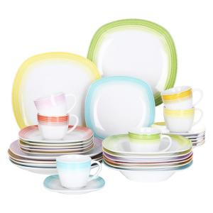 30-Piece Assorted Colors Porcelain Dinnerware Set Dinner Plates Cup and Saucer Set (Service for 6)