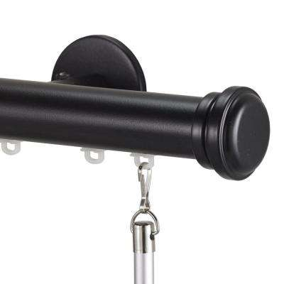 Tekno 25 Decorative 84 in. Traverse Rod in Distressed Wood with Empire Finial