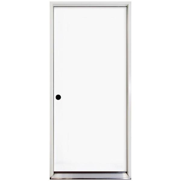 32 in. x 80 in. Premium Flush Primed White Right-Hand Inswing Steel Prehung Front Door with 4 in. Wall