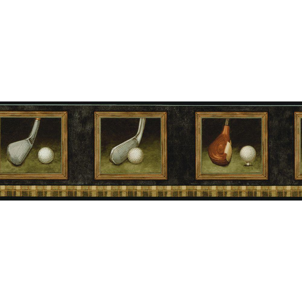 The Wallpaper Company 6.75 in. x 15 ft. Black and Brown Golf Border