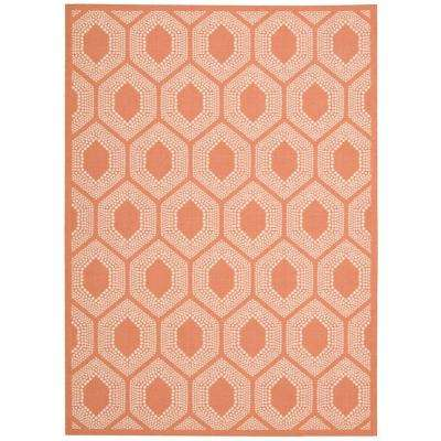 Bubbly Tangerine 8 ft. x 11 ft. Indoor/Outdoor Area Rug