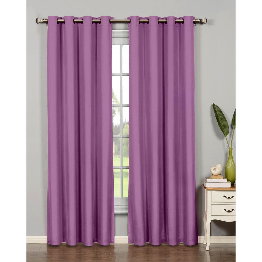 Semi-Opaque Emma Microfiber Extra Wide 84 in. L Room Darkening Grommet Curtain Panel Pair, Purple (Set of 2)