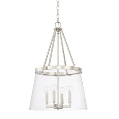 4-Light Brushed Nickel Pendant with Clear Glass Shade