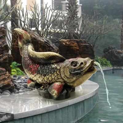 Showa Asian Koi Stone Bonded Resin Piped Spitting Statue