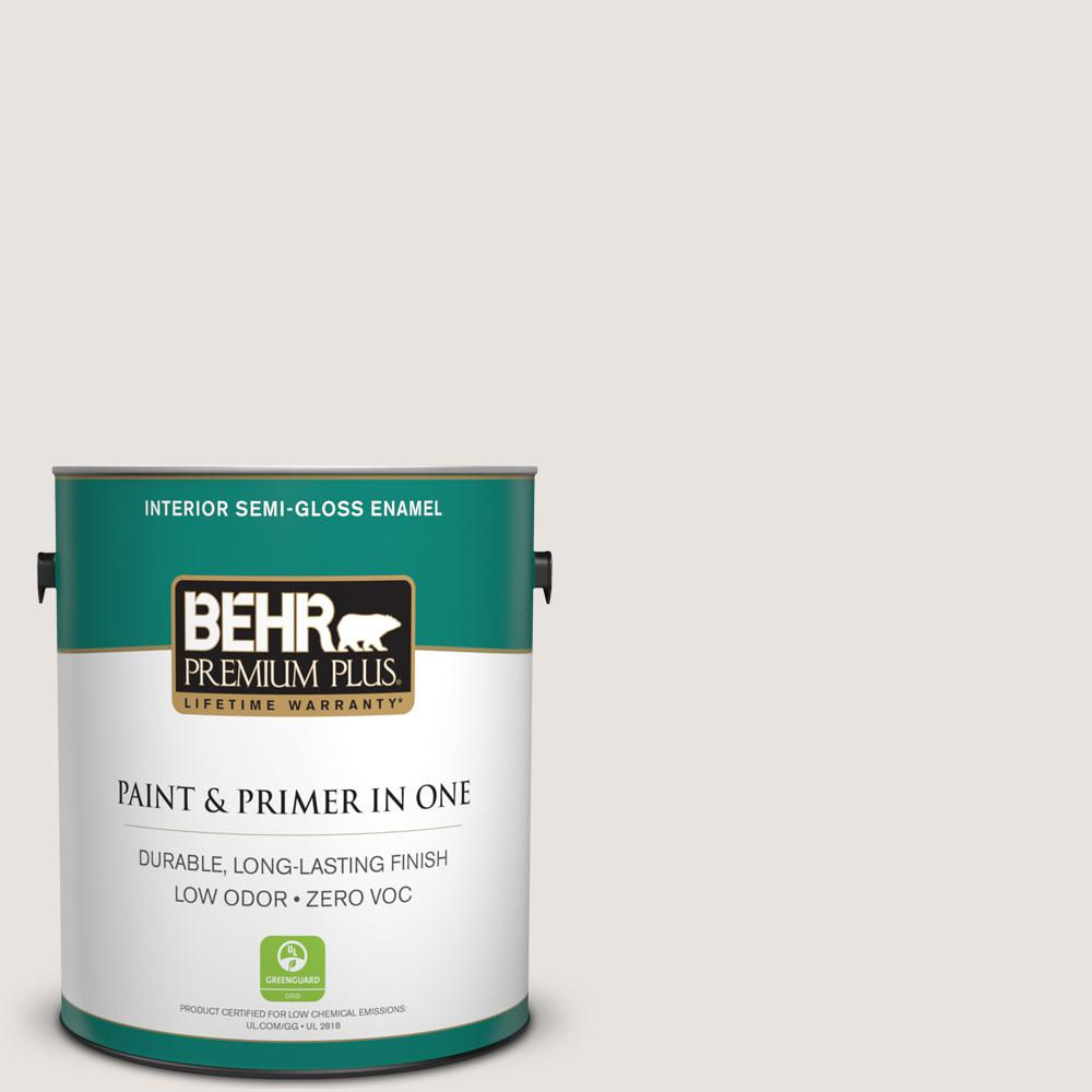BEHR Premium Plus 1-gal. #BWC-13 Smoky White Semi-Gloss Enamel Interior Paint
