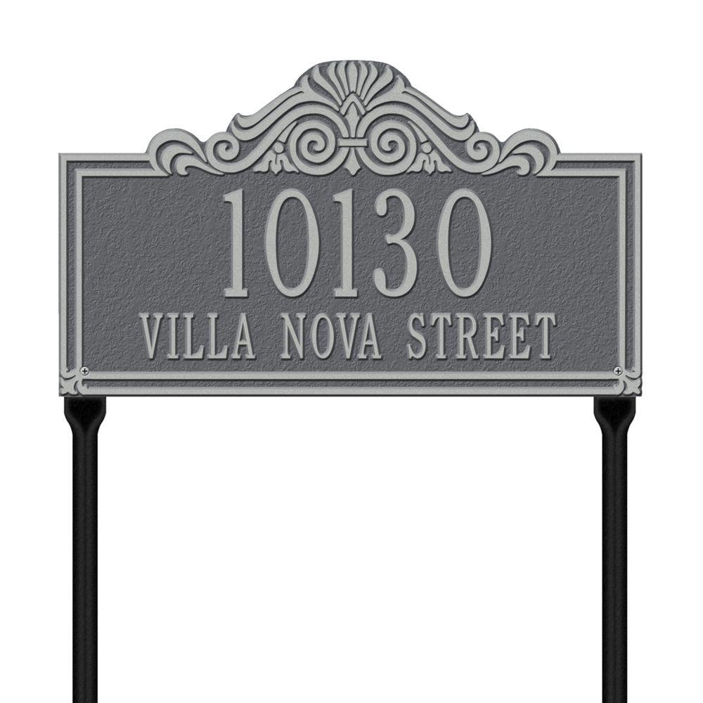 Whitehall Products Villa Nova Rectangular Pewter/Silver Standard Lawn Two Line Address Plaque