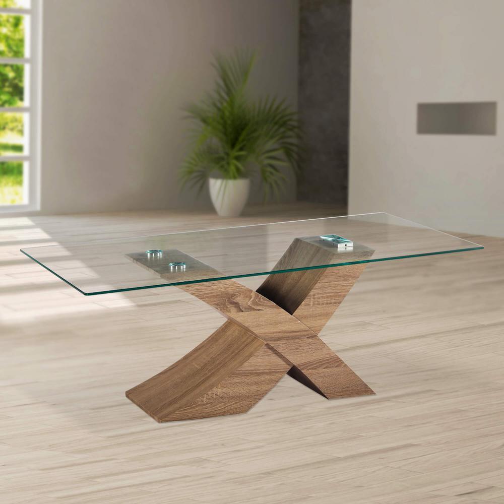Venice X Modern Style Gl Coffee Table With Oak Effect Base