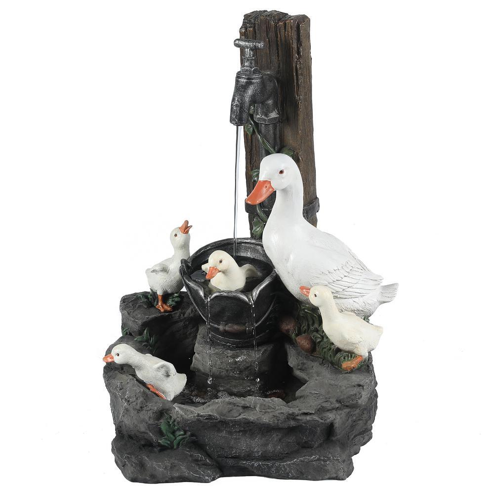 Resin Duck Family Outdoor Patio Cascade Fountain