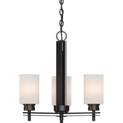 Carena 3-Light Indoor Antique Bronze Mini Hanging Chandelier with Etched White Cased Glass Cylinder Shades