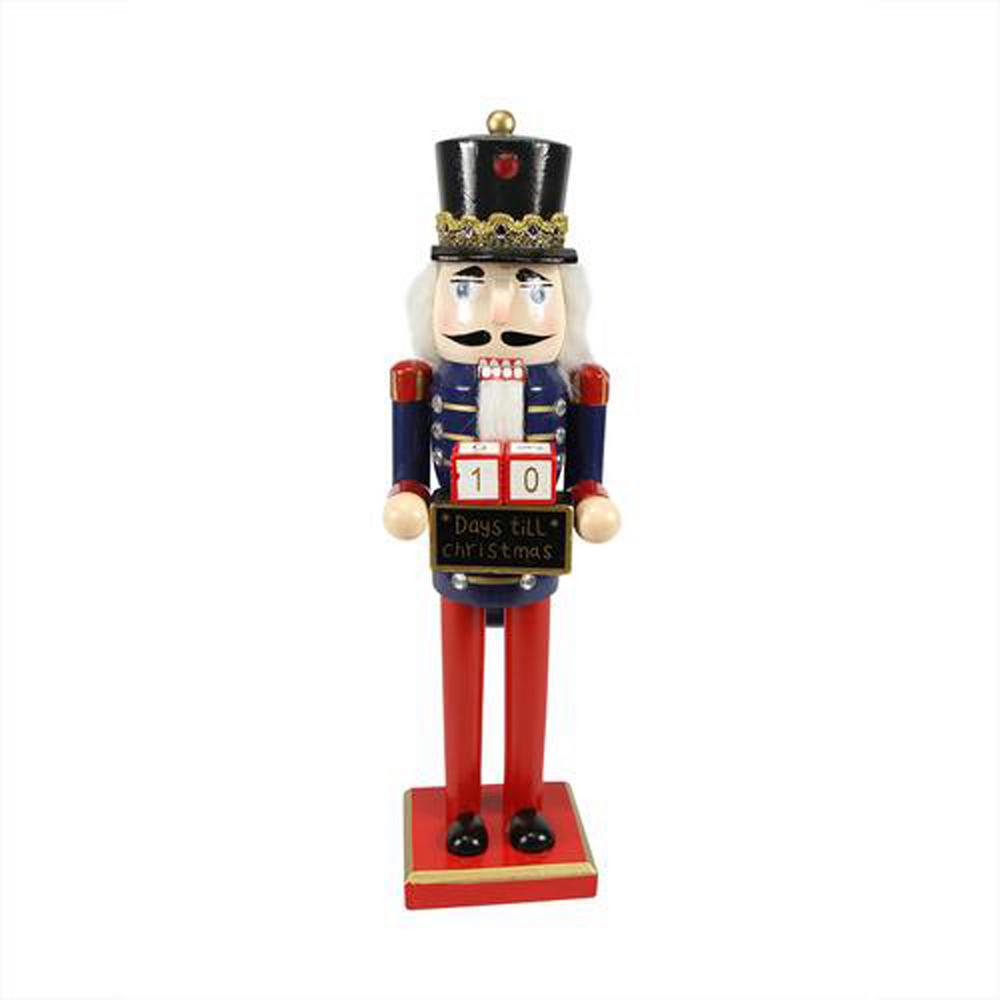 14 in. Decorative Wooden Red Blue and Gold Nutcracker with Christmas
